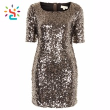 Women t-shirt sequin bodycon bling sequin top Round Neck Short Sleeve evening dresses