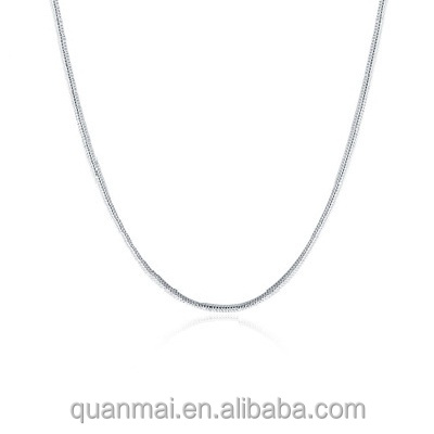 Maverick Snake Choker <strong>Silver</strong> Plated 1mm Italian Square Snake Link Chain Necklace in Lengths 16, 18, 20, 22, 24 Inches