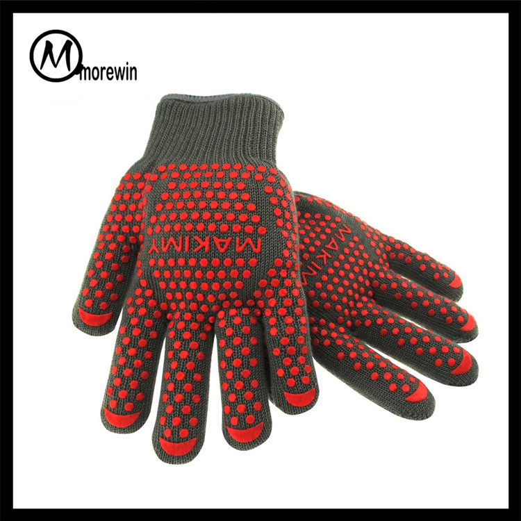 Morewin Brand 2016 Amazon Supplier Double Silicone Heat Resistant Gloves BBQ Industrial Oven Gloves