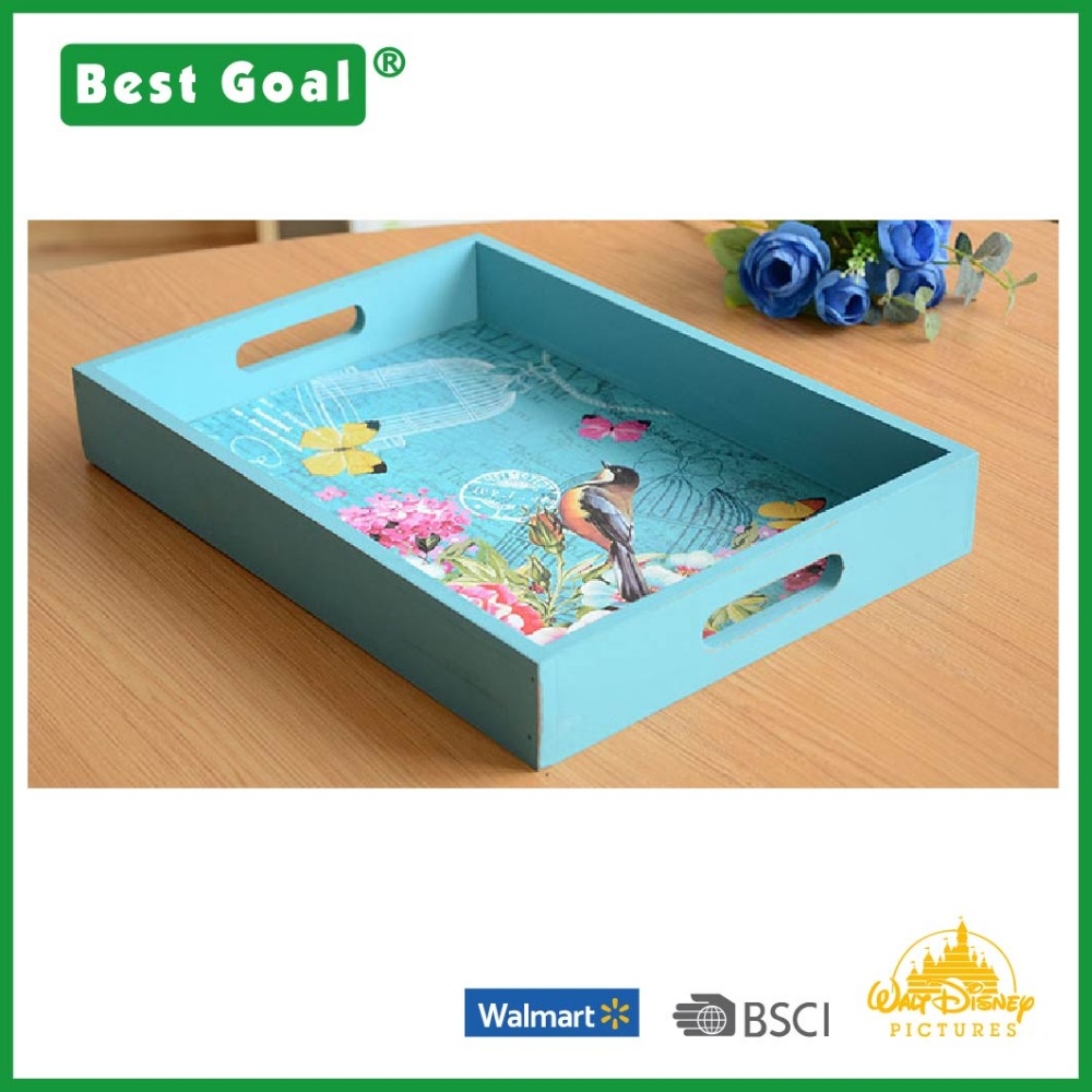 Cheap wooden serving tray with handles