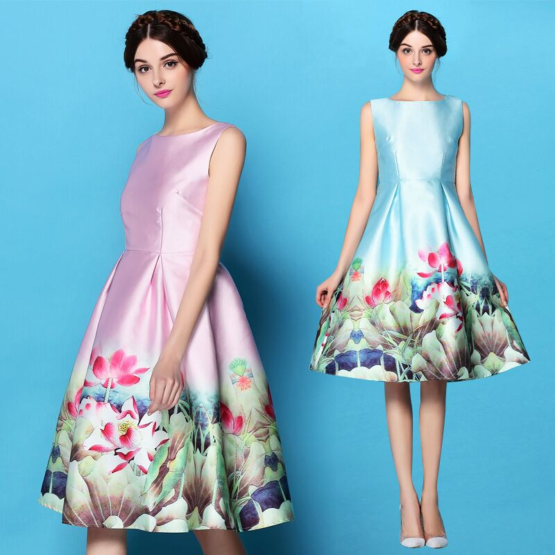 Z&M 2016 women clothing printing latest dress Latest Design Women Fashion Dresses