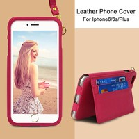 Portable One Side Cell Phone PU Leather Cases for Samsung Galaxy S4 Cover with Hanging Strap