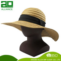 Wholesale Summer Blank Custom floppy Straw Lady Hat Women Straw Hat for Sale