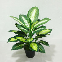 cheap wholesale outdoor /indoor decorative potted plant marking artificial fake dieffenbachia green small plant potted bonsai