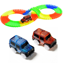 220pcs Track Set Race Game Toys Bend Flex Glow in the Dark with LED Car