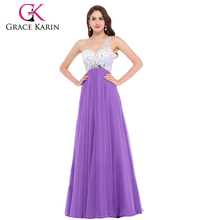 GK Fashionable Sweetheart Floor-length One Shoulder Beaded Chiffon Prom Dress 2016 8 Size US 2~16 GK000002