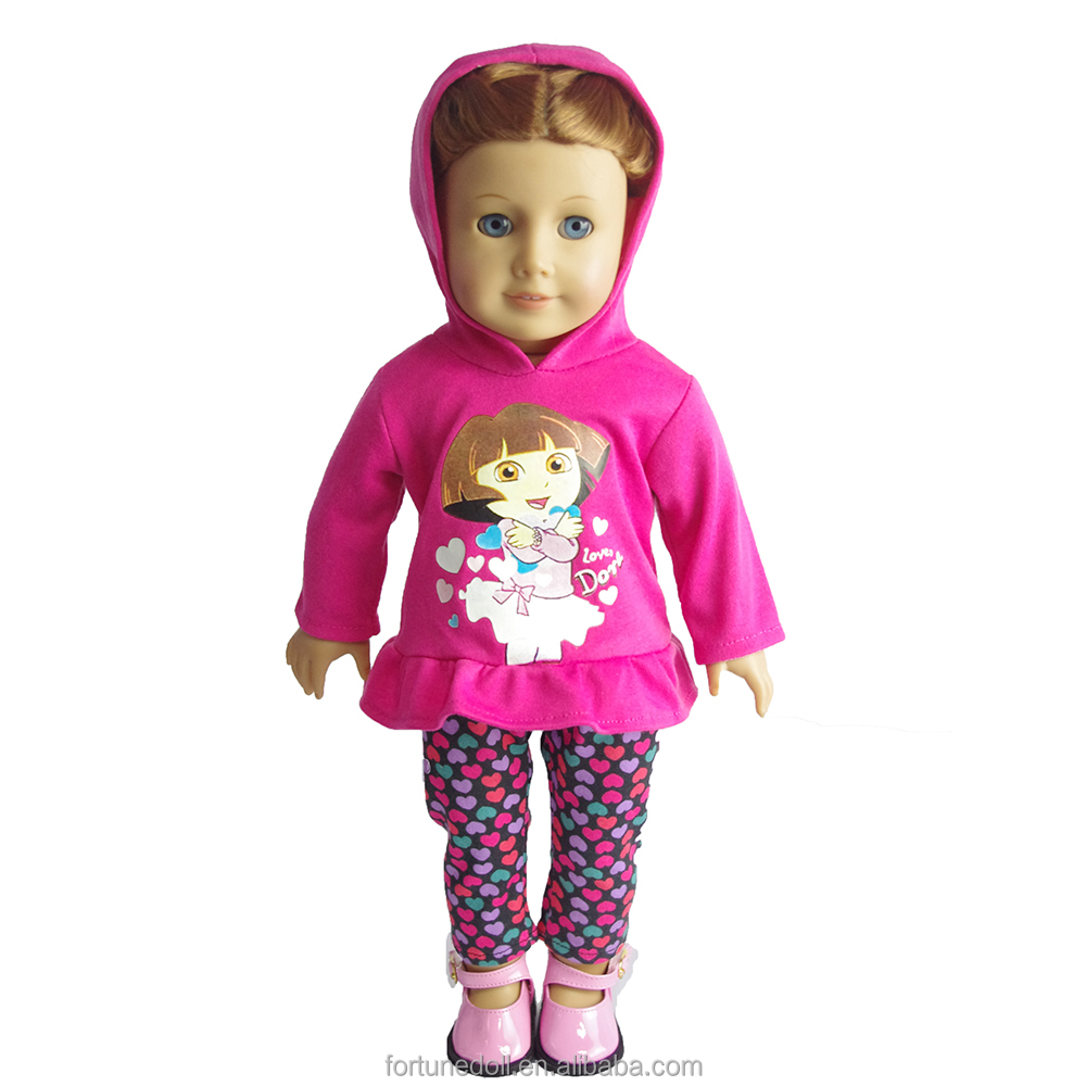 JC137-18 inch doll-Hooded clothing + printed pants doll outfit-doll clothes china manufacturer