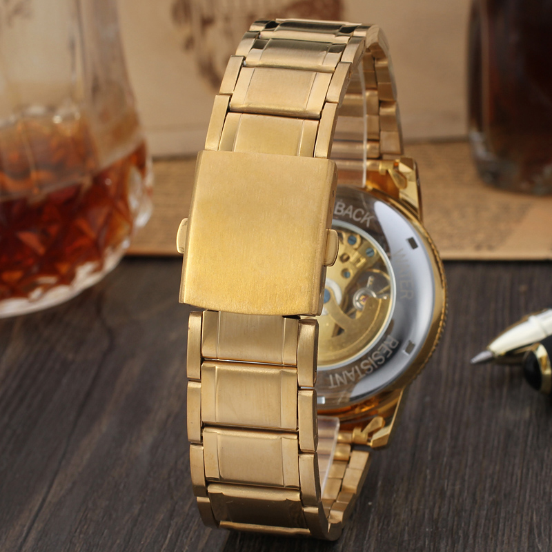 China Timepieces Factory Custom Steel Watches For Men, Custom Logo Watches With Gold Skeleton