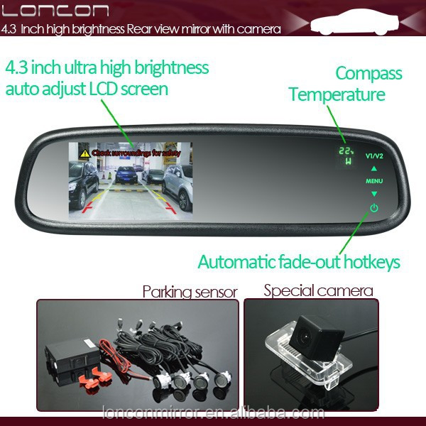"CE RoHS 4.3"" Monitor Reverse Sensor Car Rearview Mirror With Parking Camera"