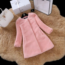 Genuine Sheep Shearing Fur Coat Pocket Cool-Chic Lady Winter Plain Coat