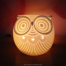 Factory supplier personalized decoration 3D animal ceramic owl shaped fragrance wholesale animal oil burner