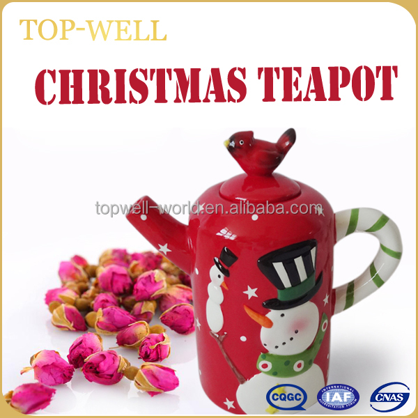 New arrival, cartoon 3D ceramic teapot with snowman image Christmas crafts
