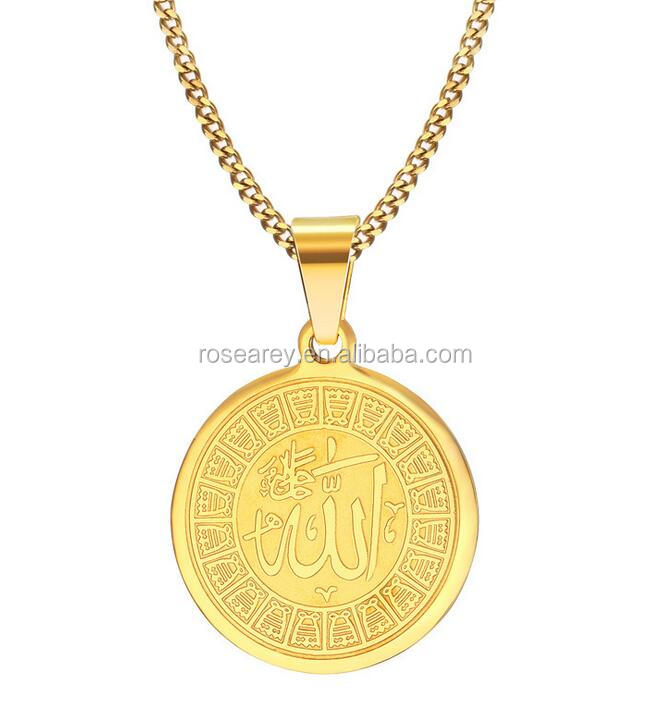 Religious Totem Jewelry Gold Stainless Steel Gold Round Pendant Neckalces With Mantra