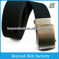 Black Military Cottoh Webbing Belt with Slip Metal Buckle in Silver Color