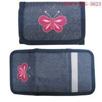 Fashion two folding girls wallet with embroidered butterfly