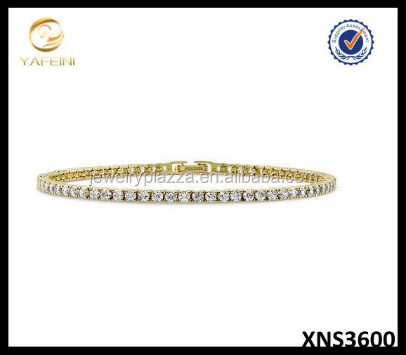 Alibaba Wholesale Silver Jewelry Yellow Gold Vermeil Cubic Zirconia Tennis Bracelet