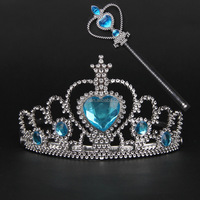 Wholesale blue crystal tiara and magic wand for birthday party