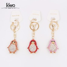 penguin shaped animal colorful key chain holder for women alloy with crystal promotion key chain