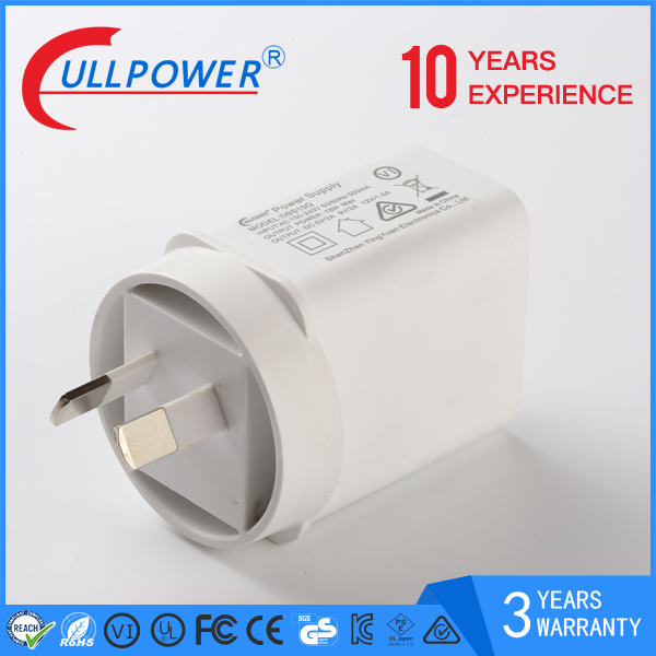 Portable mobile phone travel wall adapter charger QC2.0 quickly charge with AU plug