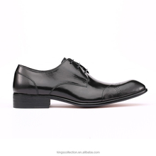 OEM Low MOQ Wingtip Derby Durable High Quality Cow Leather Black Men Geniune Leather Shoes