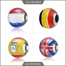 Aceworks New designs 925 Sterling Silver European National Flag Charm Bead
