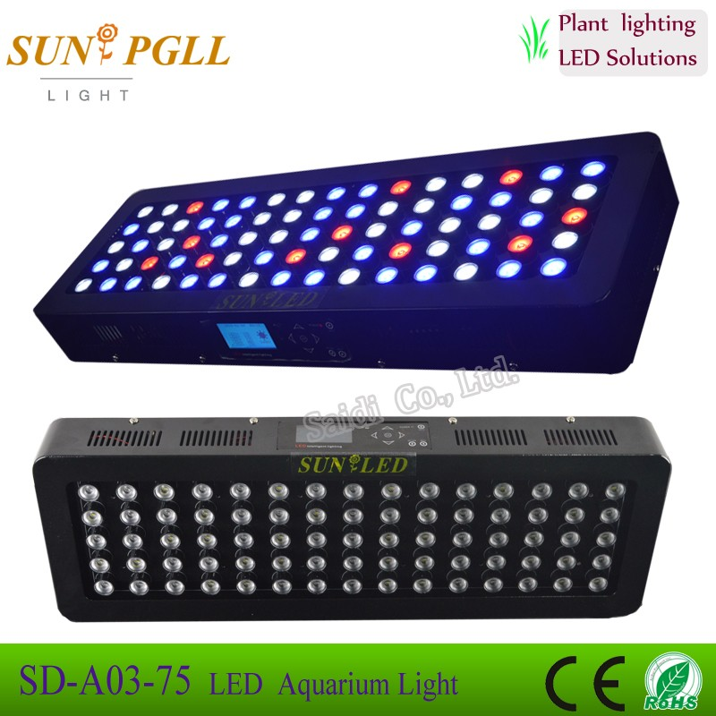 2016 Newest and best performance 225w(75*3w) diy led aquarium lights coral reef tank