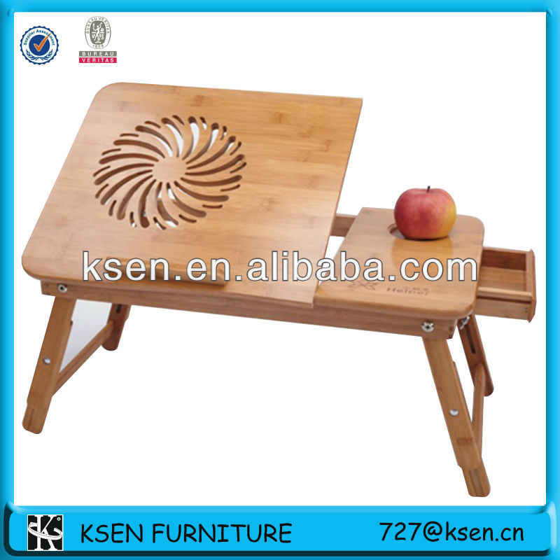 bamboo folding laptop table with cooling fans KC-T204