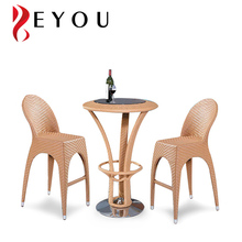 Resistant Resin Wicker Rattan Stack Chairs And Round Table Bar Set Outdoor Furniture