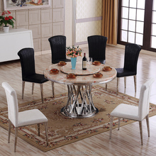 wholesale steady stainless steel support dining marble table