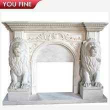 Lion Head White Marble Fire place Mantel