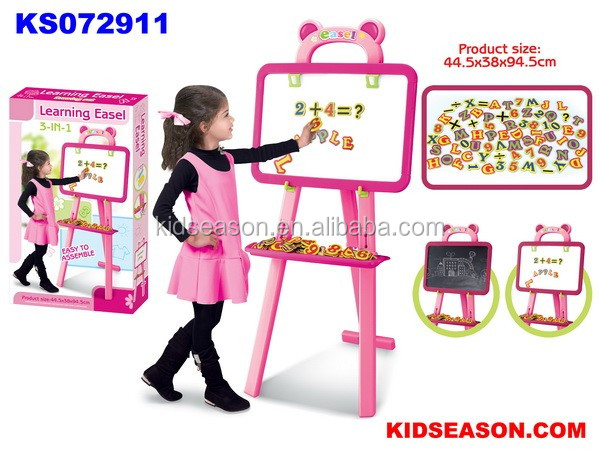 KIDSEASON 3-IN-1 KIDS LEARNING EASEL PINK COLOR TOYS FOR GIRL