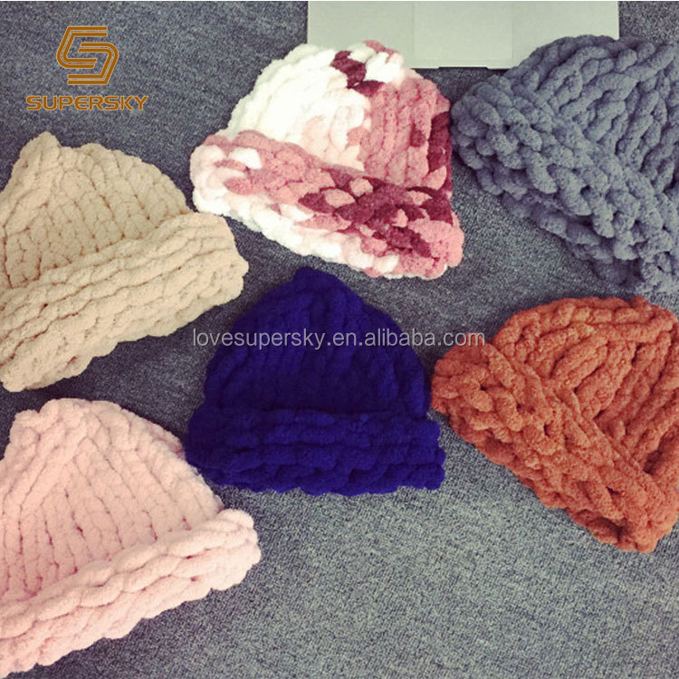 A187 Thick Knit Soft Warm Winter Beanie Super Chunky Yarn Knitted Beanie Chunky Big Loop Yarn Winter Hat
