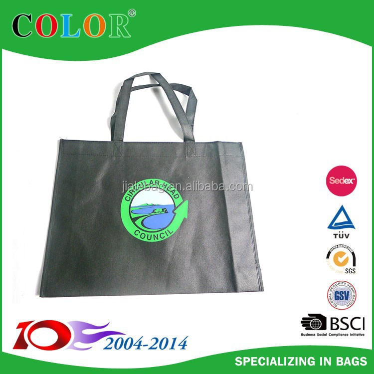 pictures printing black non woven shopping bag with 3 colors silk print