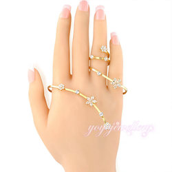 hot sale high quality crystal flower shape fashion palm cuff 18k gold bangle saudi arabia jewelry in finger ring