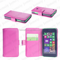 Stylish Hotpink Wallet Flip Case Cover Folio Stand Premium PU Leather With card & Cash slot pocket For Nokia Lumia 630