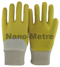 NMSAFETY interlock liner grip garden heavy duty latex safety work gloves