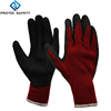 10 gauge red acrylic terry safety gloves palm coated with black latex crinkle finish