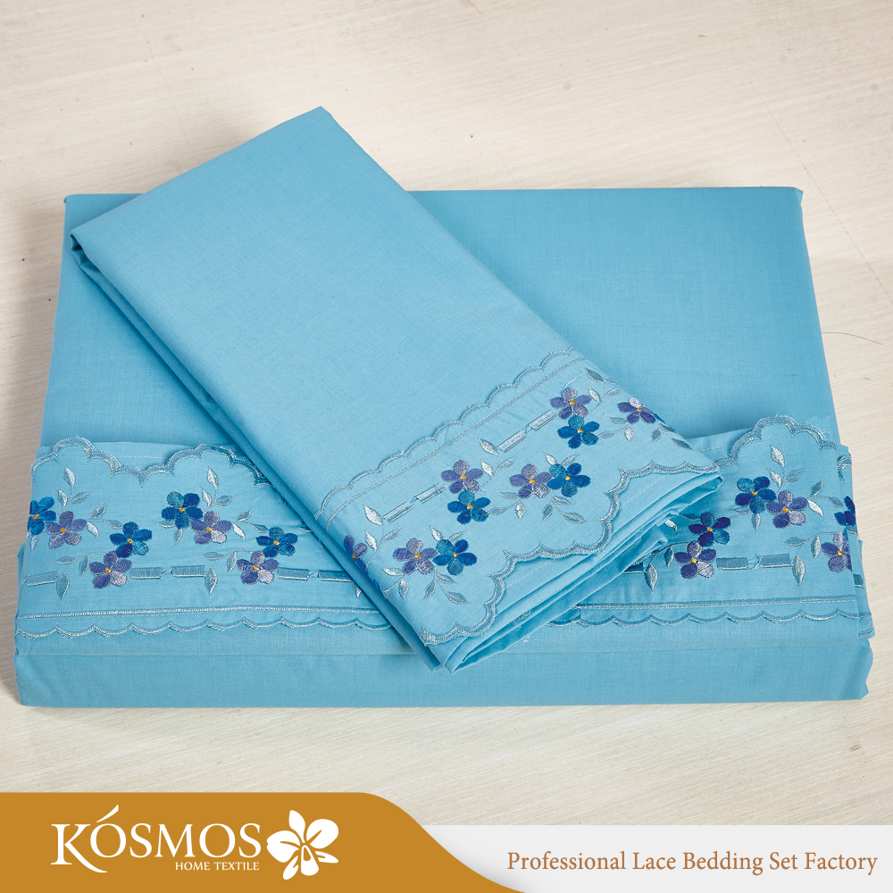 KOSMOS bedding set polycotton duvet cover sets lace embroidery bed sheet hotel