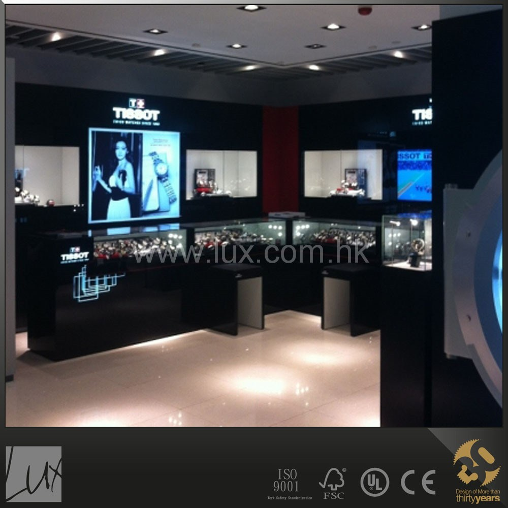 Black lighting watch jewelry shop furniture design and installation