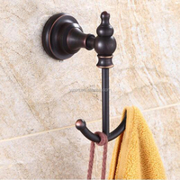 Wholesale And Retail Luxury Wall Mounted Oil Rubbed Bronze Bathroom Hooks Dual Robe Hangers Towel Hats Hooks Bath Ball Hook