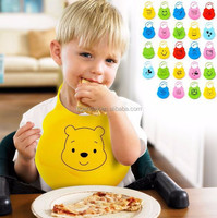 Adjustable Easy Washable Cute Animal Shape Soft Silicone Baby Bibs With Crumb Catcher