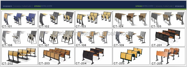 2016 New desigtn colleague desk and chair durable school desk and chair used student chairs furniture CT-227