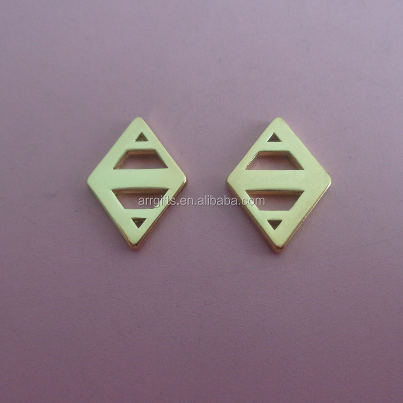 Promotional hollowed-out design rhombus shape metal pendant dangler with two holes