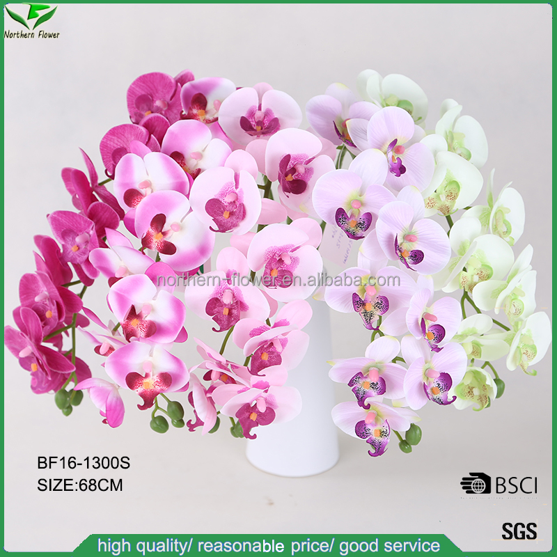 cheap wholesale single stem fabric flowers, artificial single orchid flower