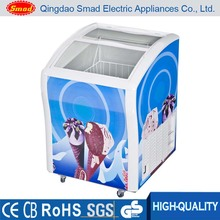 Commercial curved glass door chest type freezer for ice cream