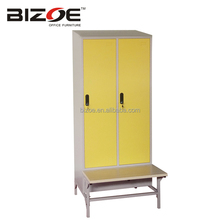 High quality new design 2 door cheap bench steel gym cabinet metal clothes locker