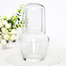 Made in China mouthblown bulk glass decanter water drinking carafe with cup lid