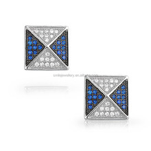 hip hop latest model fashion earrings mens 925 silver cz earrings jewelry