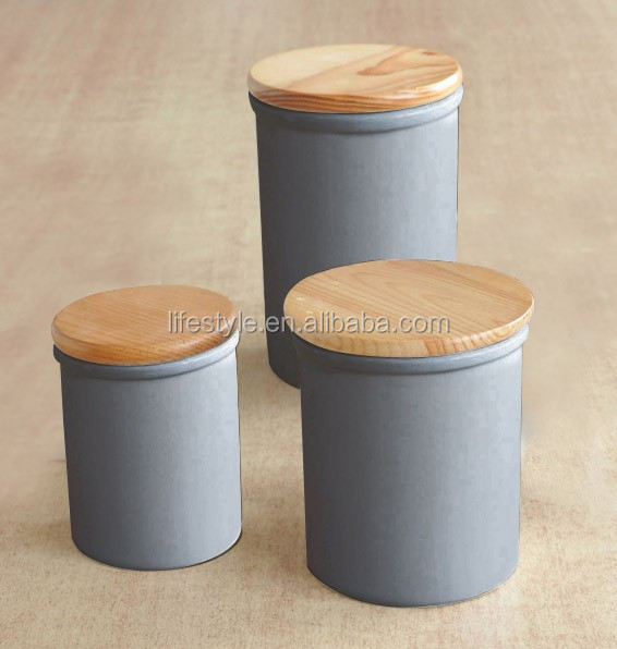 Can Shape Ceramic Jar With Wooden Lid, Matt Ceramic Canister