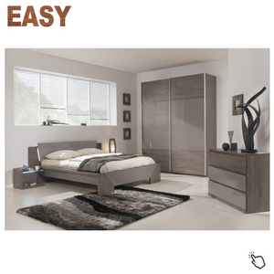 Elegant cheap modern high gloss wardrobe LED bedroom sets furniture